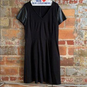 Ann Taylor leather sleeve dress